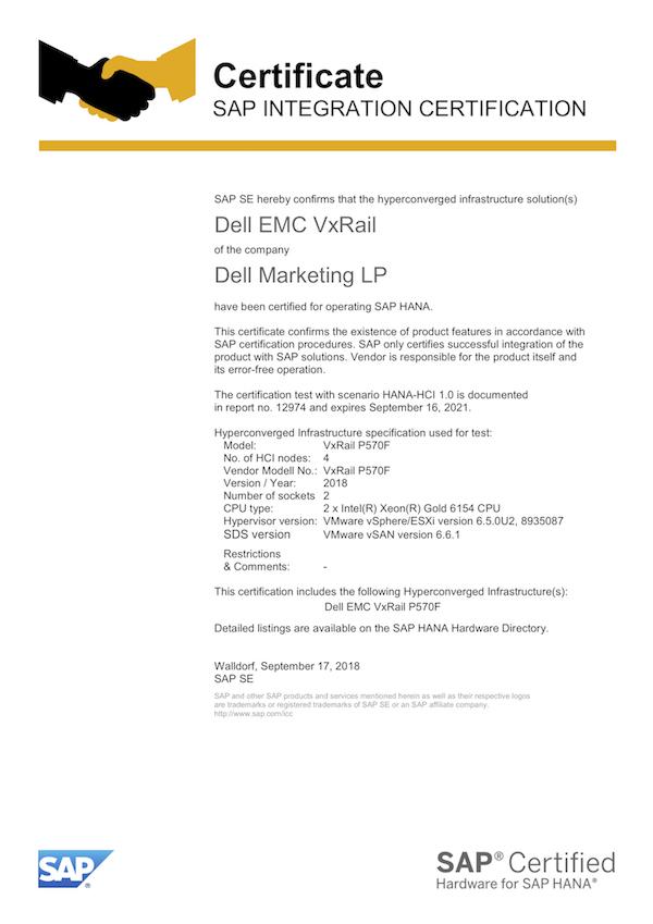 SAP HANA on vSAN - SAP On VMware