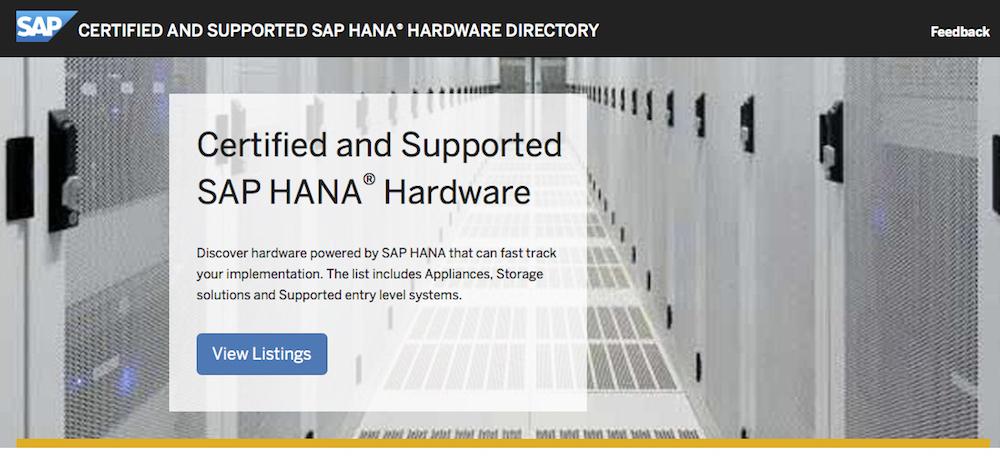 SAP HANA Hardware Directory